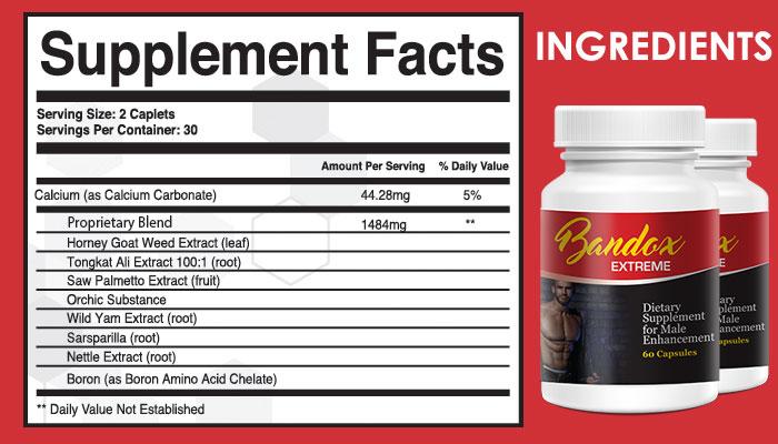 Bandox Extreme Male Enhancement ingredients